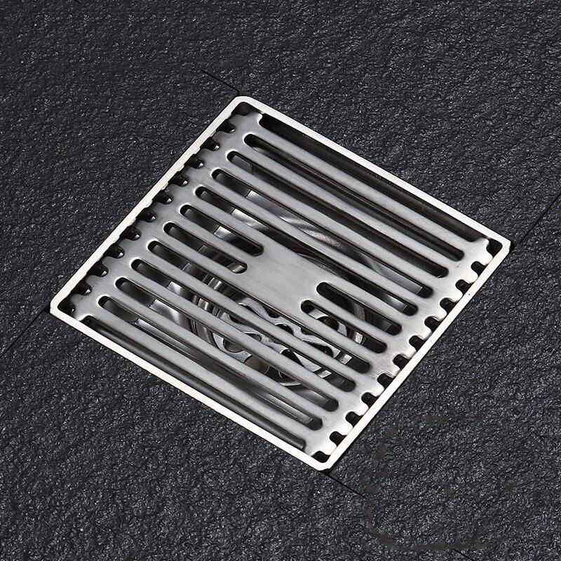 Drain de sol linéaire de 4 pouces Drain de sol de douche de salle de bains couvercle de Drain de douche en acier inoxydable SUS304 filtre de cuisine égouttoir