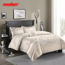 Sisher Luxury Duvet Cover Queen Flowers Bedding Set with Pillowcase Double Full King Size Gray Bedclothes
