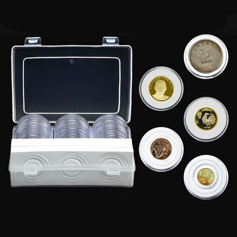 Coins Collection Box Wooden Storage Container Round Plastic Clear Holder Capsule