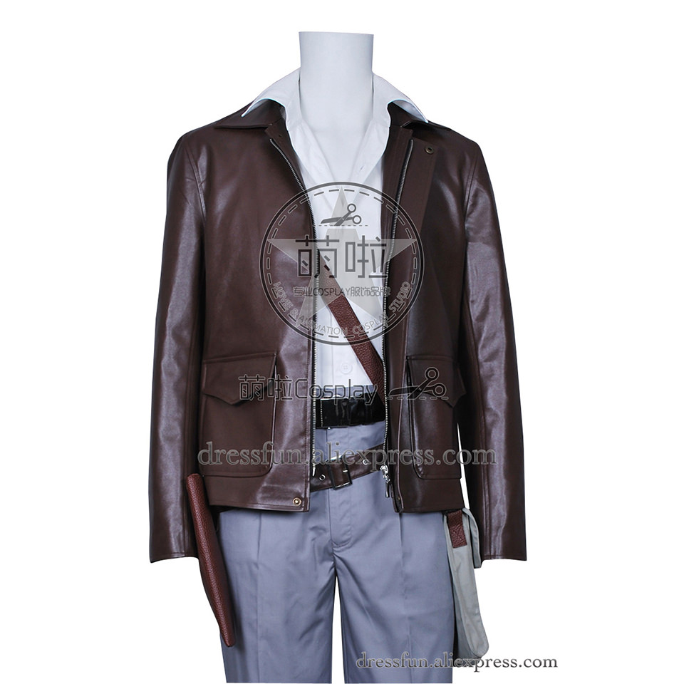 Indiana Jones Cosplay Harrison Ford Costume New Cool Leather Jacket Suit Uniform Halloween Fashion Party Fast Shipping