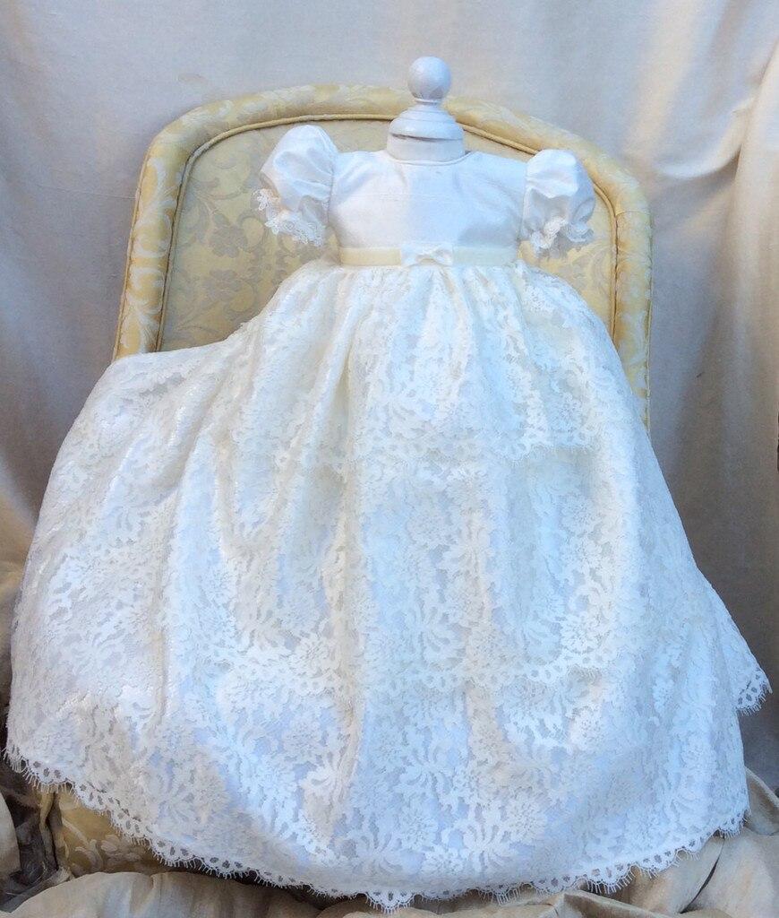 New Enchanting Baby Girl Baptism Gown Christening Dress Robe Flower ...