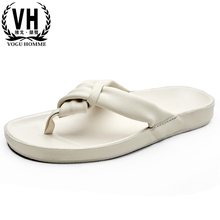 Summer Genuine Leather Shoes Men slippers mens white flip-flops casual beach shoes men slippers cowhide casual Shoes male beach цена в Москве и Питере