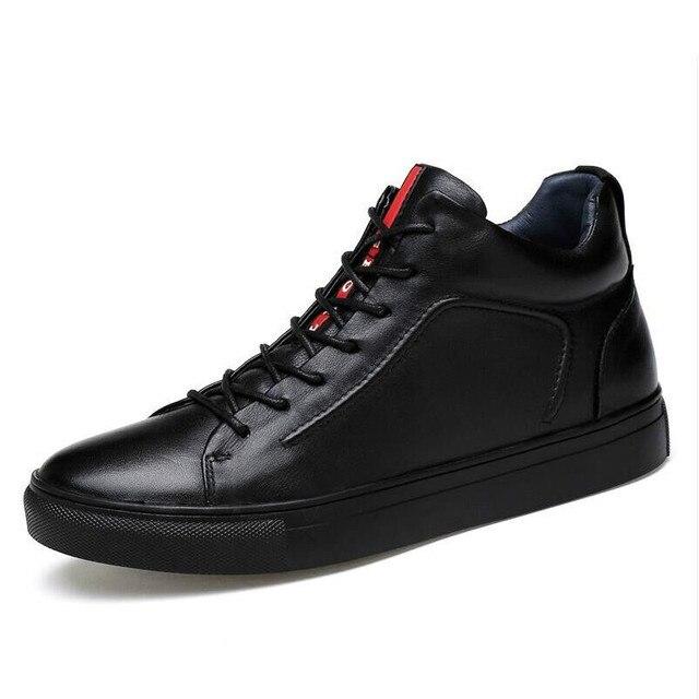 大サイズの紳士靴高品質スプのアンクルブーツ黒雪のブーツ冬のメンズブーツ毛皮暖かい靴 HH-015