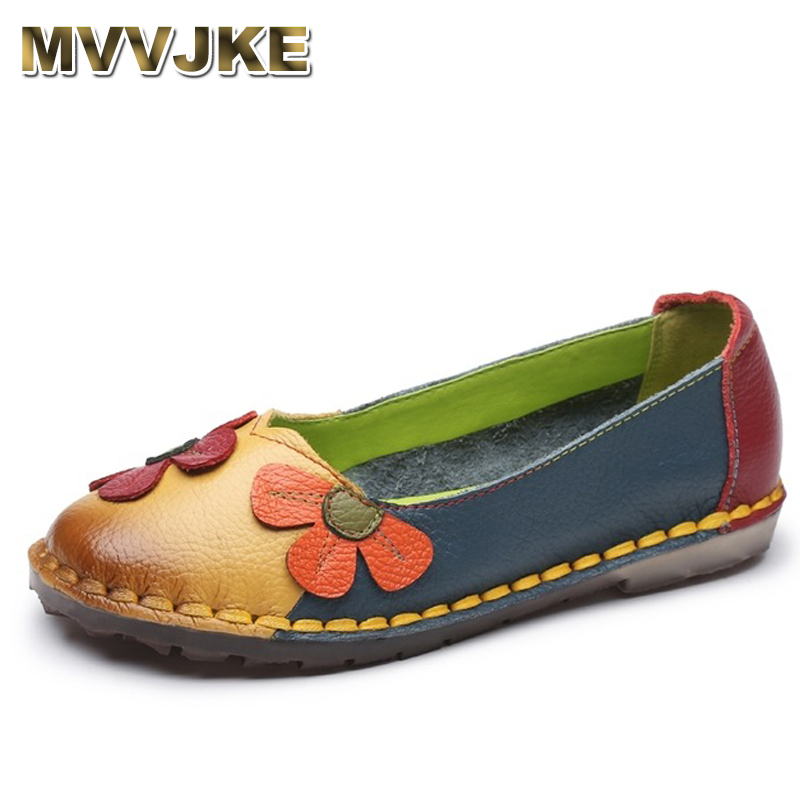 MVVJKE Summer Autumn Fashion Flower Design Round Toe Mix Color Flat Shoes Vintage Genuine Leather Women Flats Girl Loafer front lace up casual ankle boots autumn vintage brown new booties flat genuine leather suede shoes round toe fall female fashion