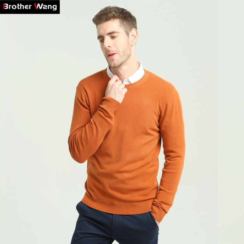2020 Autumn Winter New Men's Casual Sweater Fashion O-neck Classic Men Slim 100%Cotton Pullover Sweater Brand Clothing
