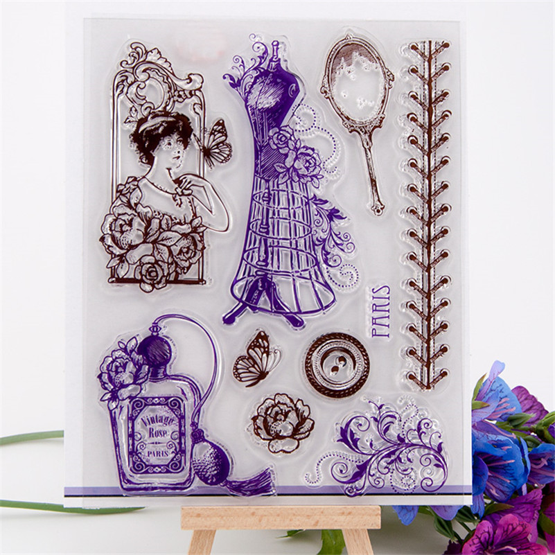 High quality diy scrapbooking clear stamp vintage lady dress for wedding gift paper card christmas gift  CC-117 1 design laser cut white elegant pattern west cowboy style vintage wedding invitations card kit blank paper printing invitation