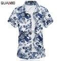 2016 Nova floral havaiano camisa Respirável Verão homens de manga curta camisa de algodão Mercerizado fino chemise Plus Size blusa