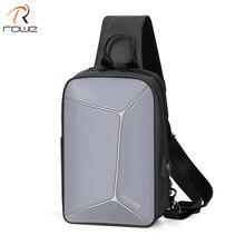 ROWE Fashion Stereoscopic antitheft Chest Bag Men Casual Shoulder Crossbody USB Charging Waterproof Travel Messenger