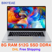 BINYEAE Gaming Laptops 15.6 inch 8GB RAM DDR4 128GB/256GB/512GB SSD intel J3455 Quad Core Notebook Computer With FHD Ultrabook
