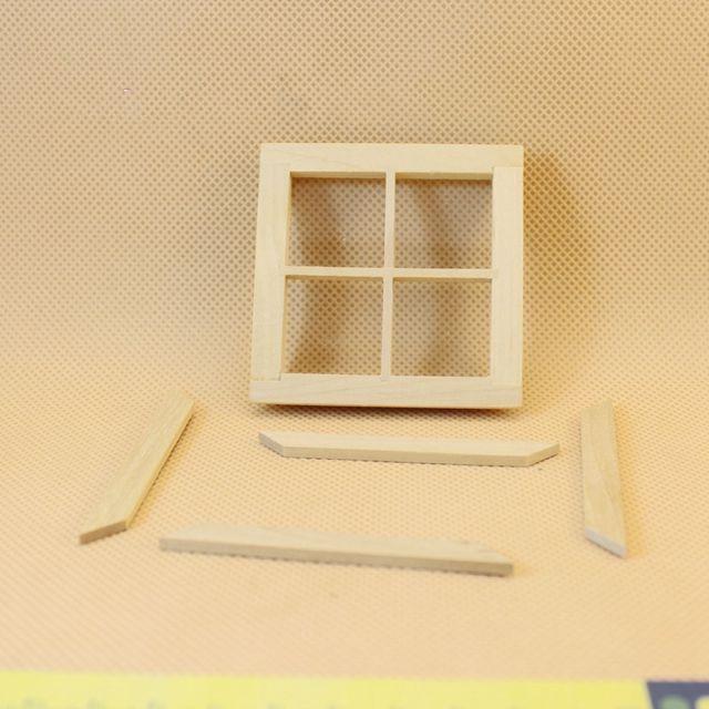 1: 12 Dollhouse miniatura de madera galletas ventana mpdel DIY ...