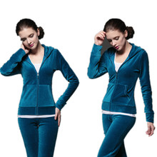Women Clothing Fall And Winter Leisure Sliod Color Casual Suit Ms. Plus Thick Velvet Two-pieces Large Size Loose  Sets b239