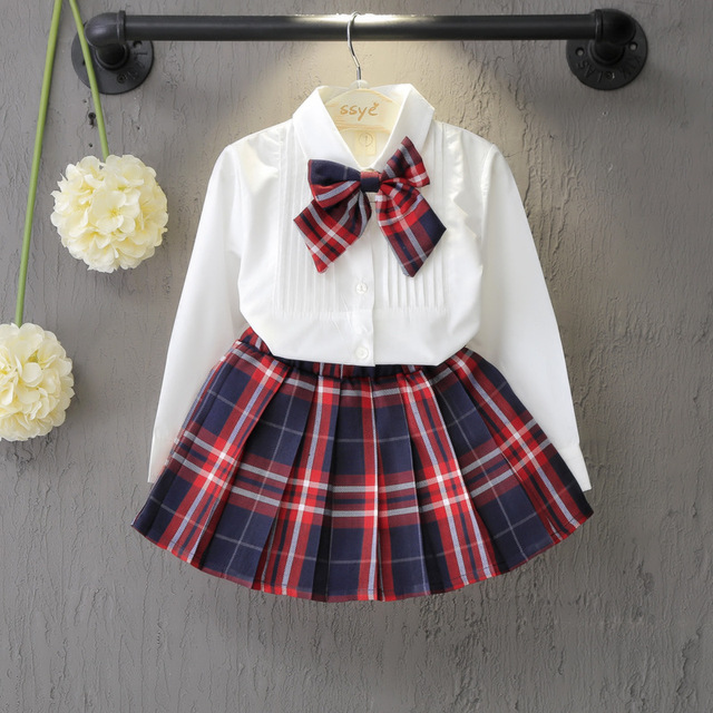 Autumn&Spring New School Style Fashion Baby Girls Dress Set White Shirt Top With Plaid Knot Tie+Plaid Mini Skirt 3 Pcs Sets 3-7T