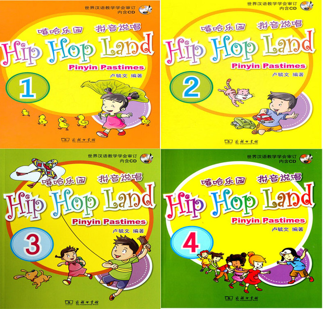 Hip Hop Land Pinyin Pastimes For Kids Age 1-10 Children Book In English For Learn Pin Yin With 4 CDs,4 Books/set