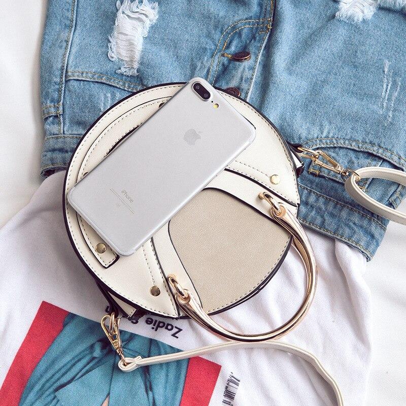 Женская сумка, женские сумки, новинка 2019, круглая сумка с металлической ручкой, через плечо, портативная маленькая сумка, Bolsa Feminina - 4