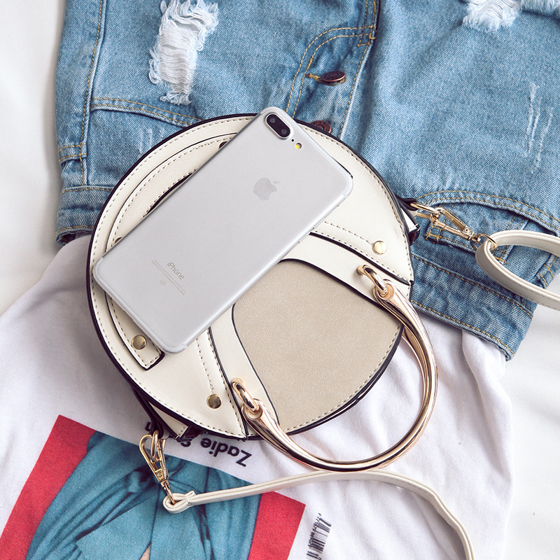 Female Bag Women's Handbags 2019 New Metal Handle Round Bag Shoulder Crossbody Portable Small Bag Bolsa Feminina - 4