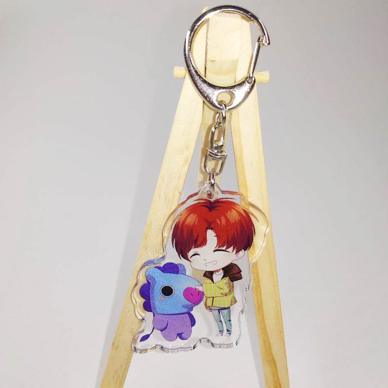 Kpop bangtan boys bt21 keychains Acrylic Keychain Keyring Key Ring New double sided Key Chains JIMIN JIN SUGA V