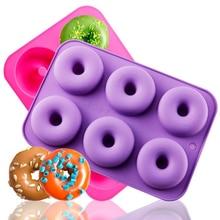 1Pc 6-Cavity Food Grade Silicone Donut Baking Pan Non-Stick Mold DIY Cake Decoration Tools Heat Resistant Reusable