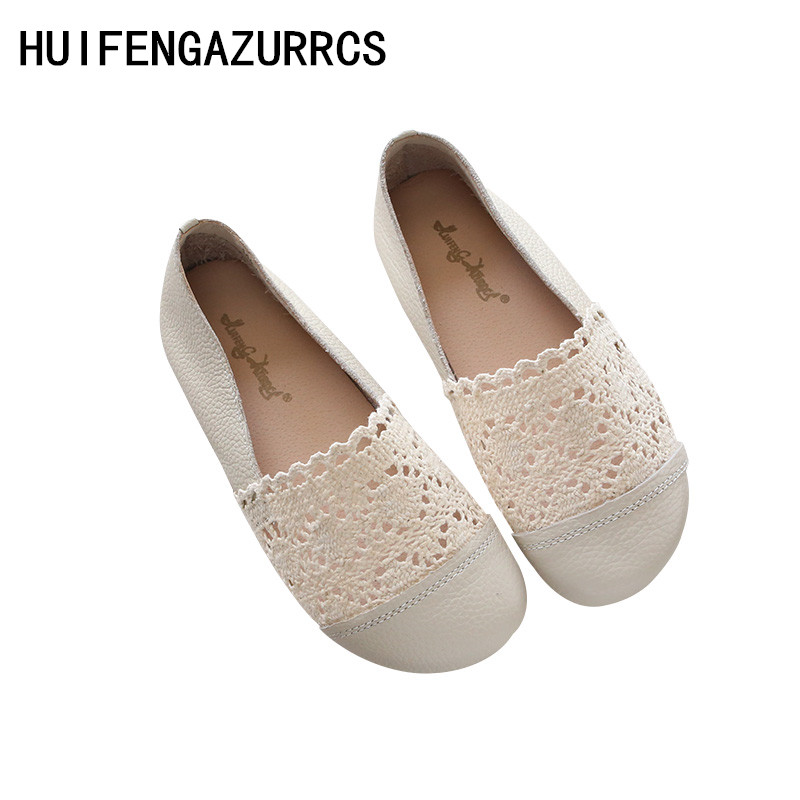 HUIFENGAZURRCS Cowhide and Lace mesh hollow casual shoes low top flat soled round beans summer Grandma