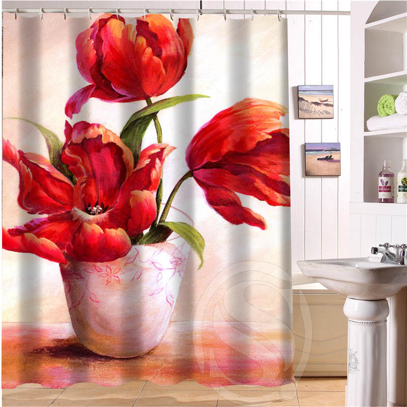 Beautiful flowers Personalized Custom Shower Curtain Bath Curtain Waterproof Polyester Fabric Shower Curtain MORE SIZE SQ0527
