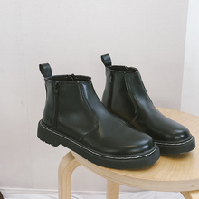 Ankle Boots Women Winter 2019 New Fashion Black Ladies Soft Leather Punk Platform