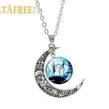 TAFREE Новая мода Кошмар перед Рождеством винтажное ожерелье полый Луна стеклянный камень цепь ожерелье для женщин ювелирные изделия ES118