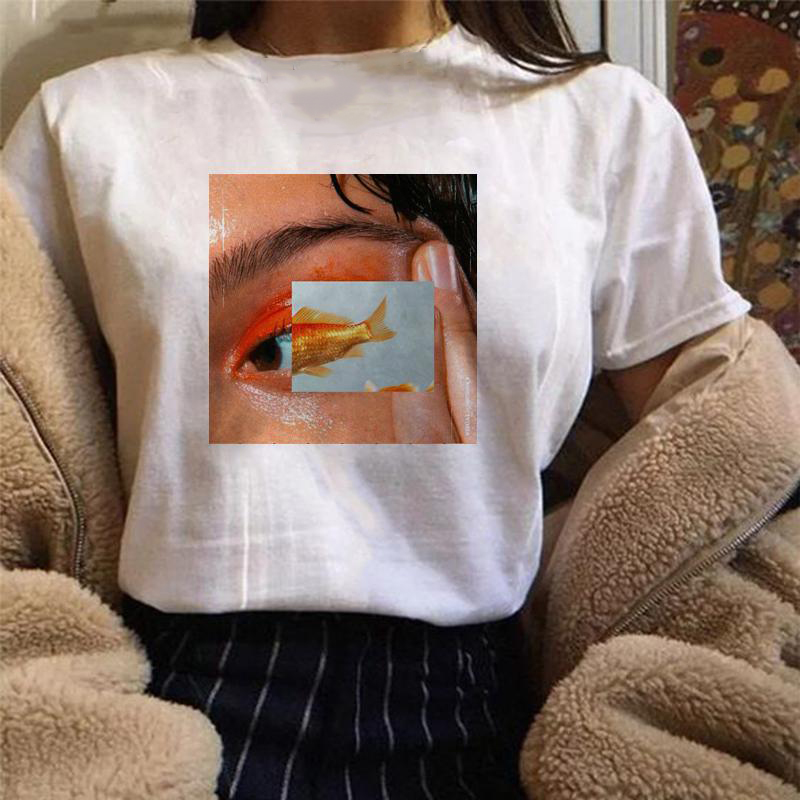 Fish Eyes Tee Women Harajuku Aesthetics Tshirt Hip Hop Fashion Tumblr Graphic Grunge T-Shirt Streetwear Tops Tee Femme Outfits