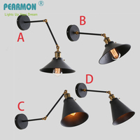 Industrial Vintage Wall Lamps Simple Style Wall Lights LOFT Little Umbrella Double Arm Bedside Lamp Restaurant