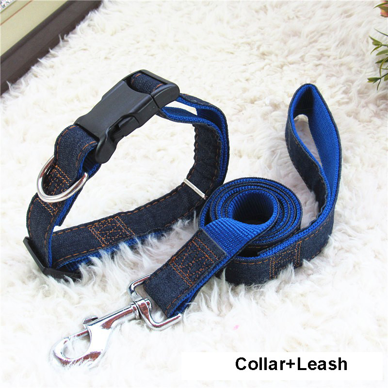 2017 Hot Sales Denim & Nylon Dog Collar/Harness+Leash Sets 120cm Long Leash Harness and Collars Chain Cat rope belt collar dogs