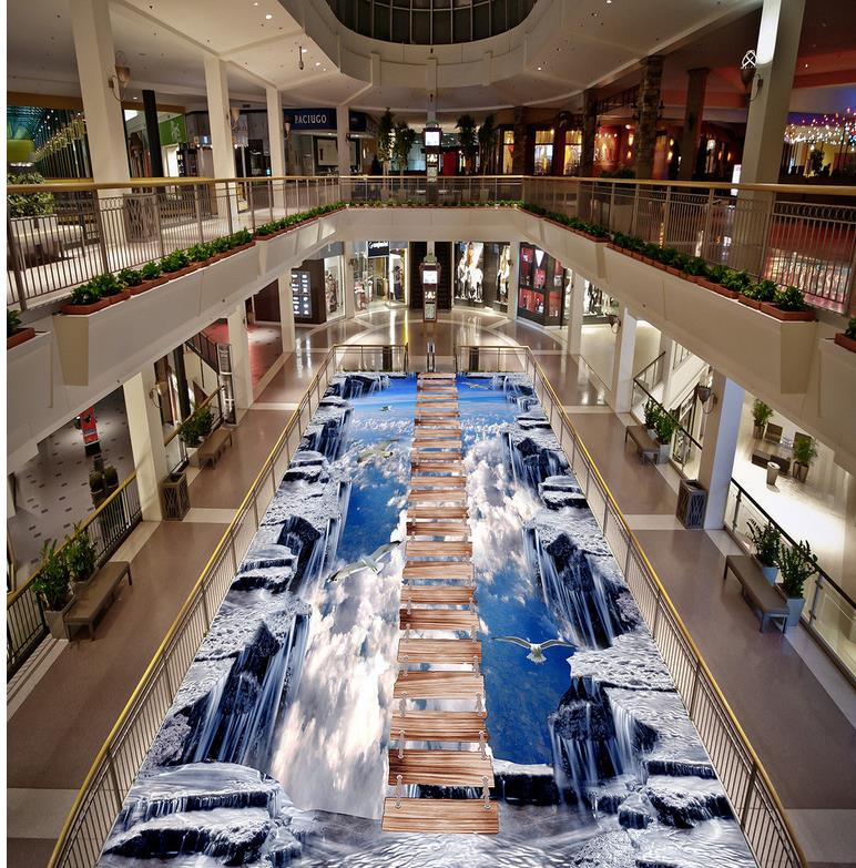 ФОТО Blue sky Floor wallpaper 3d for bathrooms 3D wallpaper 3d floor murals PVC Custom Photo self-adhesive 3D floor