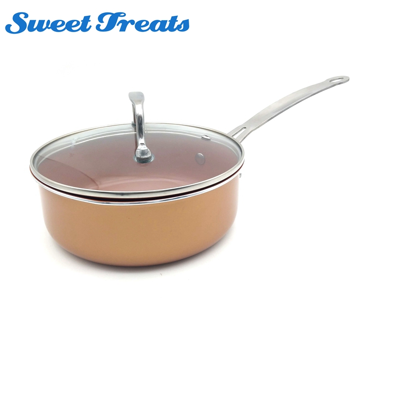 Sweettreats Nonstick Copper Ceramic Coated Cookware <font><b>pan</b></font> with Induction Compatible and Dishwasher Safe Oven Safe 2018 bestselling