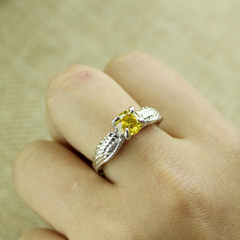 Harry Potter Quidditch Golden Snitch Ring Silver Color Crystal Ring