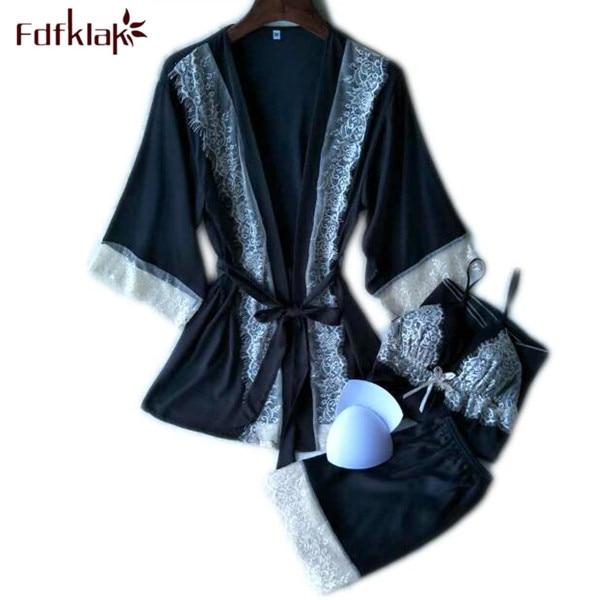 Fdfklak Spring Summer Sexy Pijama 3 Pieces Silk Pajamas For Women Satin Sleepwear Black/Pink Family Pajama Set Tracksuit Q482