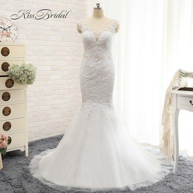 Vestido de noiva New Design Sheer Neck Cap Sleeve Mermaid Appliques Beading Court Train Tulle Wedding Dresses 2017 With Veil