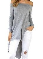 Sexy Off The Shoulder Autumn Winter Women Blouses Slash Neck Asymmetrical Tunic Casual Loose Shirts Blouse