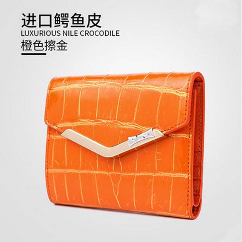 Gete real crocodile belly 24 k brush gold thirty percent women  wallet 2016 new brief paragraph crocodile leather purse camino real gold купить грн