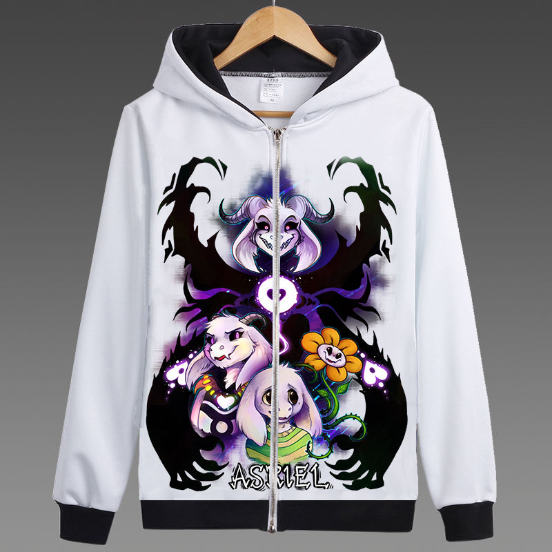 New Game Undertale Zipper Hoodies Unisex Skeleton Sans Asriel Alphys Anime Sweatshirt Jacket Coat Cosplay Costume