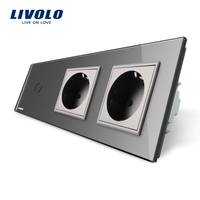 Livolo New Power Socket EU Standard CE Certificates Gray Crystal Glass Outlet Panel 2Gang Wall Sockets