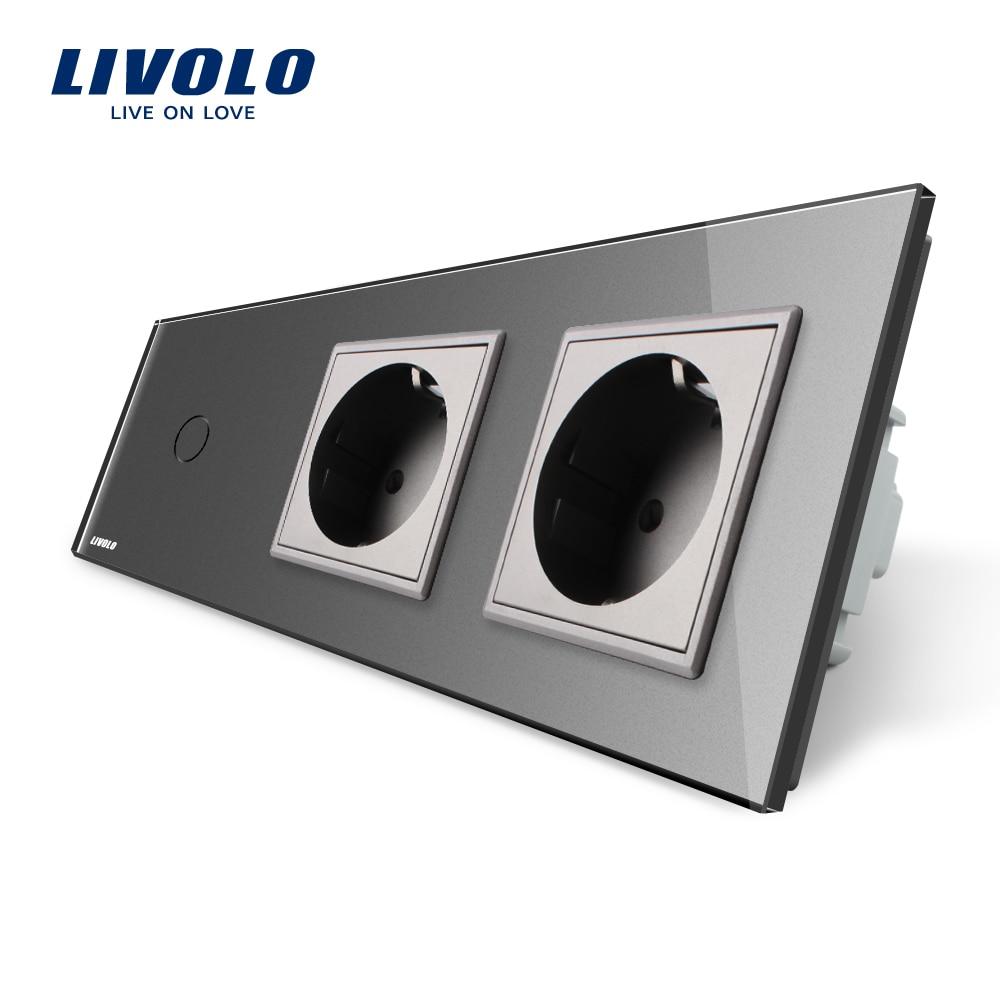 Livolo New Power Socket, ,AC 220~250V, Gray Glass Panel, 2Gang Wall Sockets with Touch Switch VL-C701-15/VL-C7C2EU-15