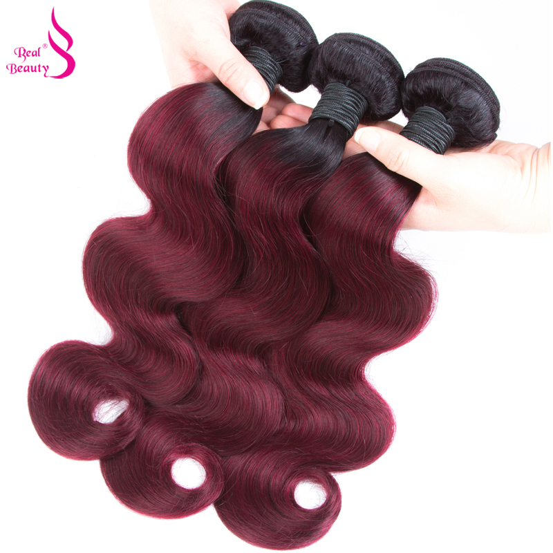 Ombre Brazilian Body Wave 3 Bundles With Closure 1B/Burgundy Human Hair Bundles With Clo ...