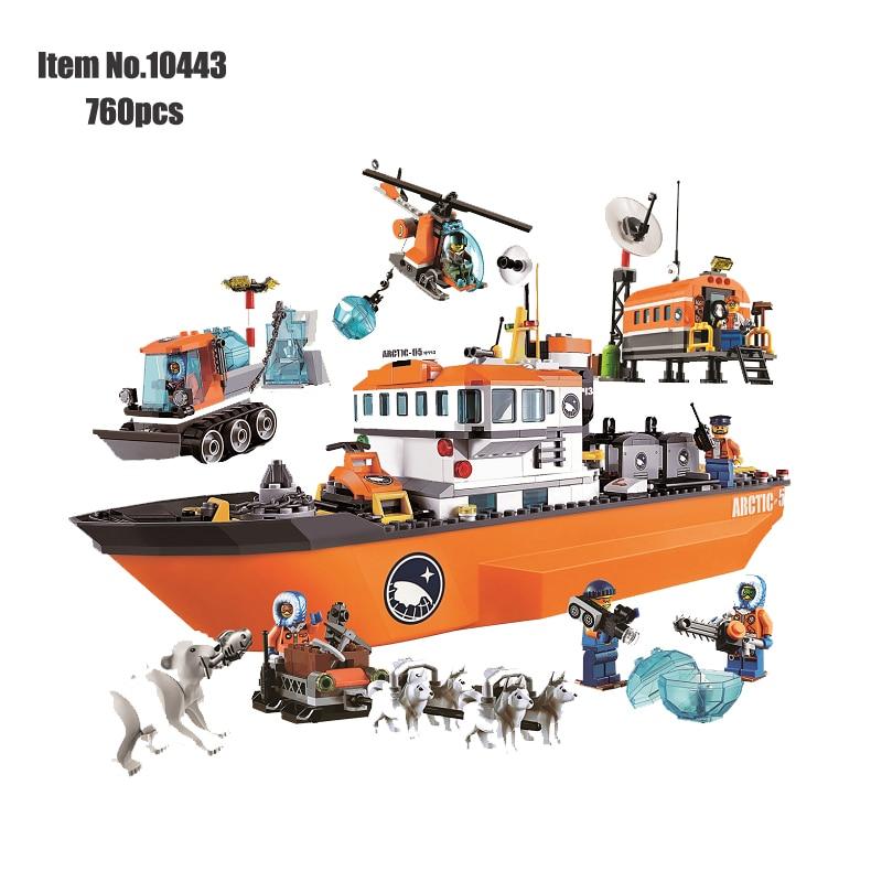 Blocs de construction de bateau de brise-glace de ville Orange aventure polaire classique navires arctiques Figure briques jouets pour enfants compatibles