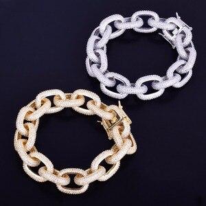 """Image 5 - 18mm שמנמן AAA זירקון עגול קובני קישור צמיד גברים של היפ הופ תכשיטי זהב צבע שרשרת צמיד 7 9"""""""