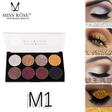 MISS ROSE 8 color sequins glitter Glitter eyeshadow tray Bling powder high gloss eye shadow waterproof