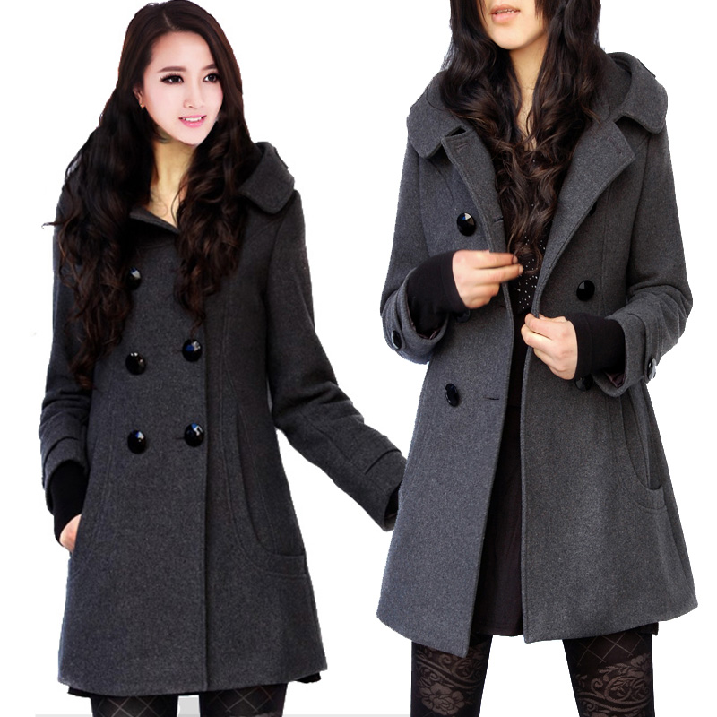 Long Pea Coat With Hood - Coat Nj