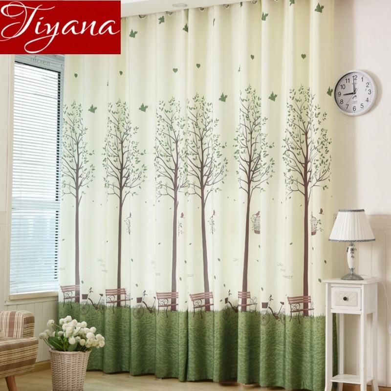Árboles verdes coreanos Cortinas Estampado Voile Cortinas Ventana - Textiles para el hogar