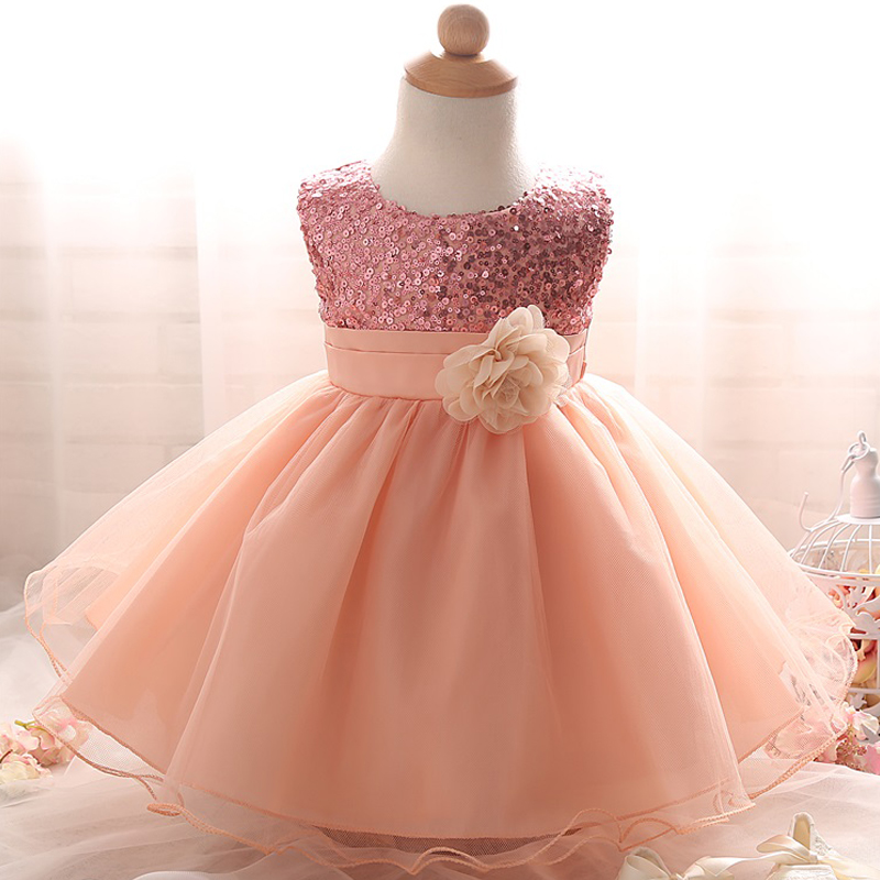 Toddlers Baby Girl Dress Gold Sequin Infant Event Party Birthday Tutu Dress With Flowers For Little Girl Formal Dress Age 0-2Y