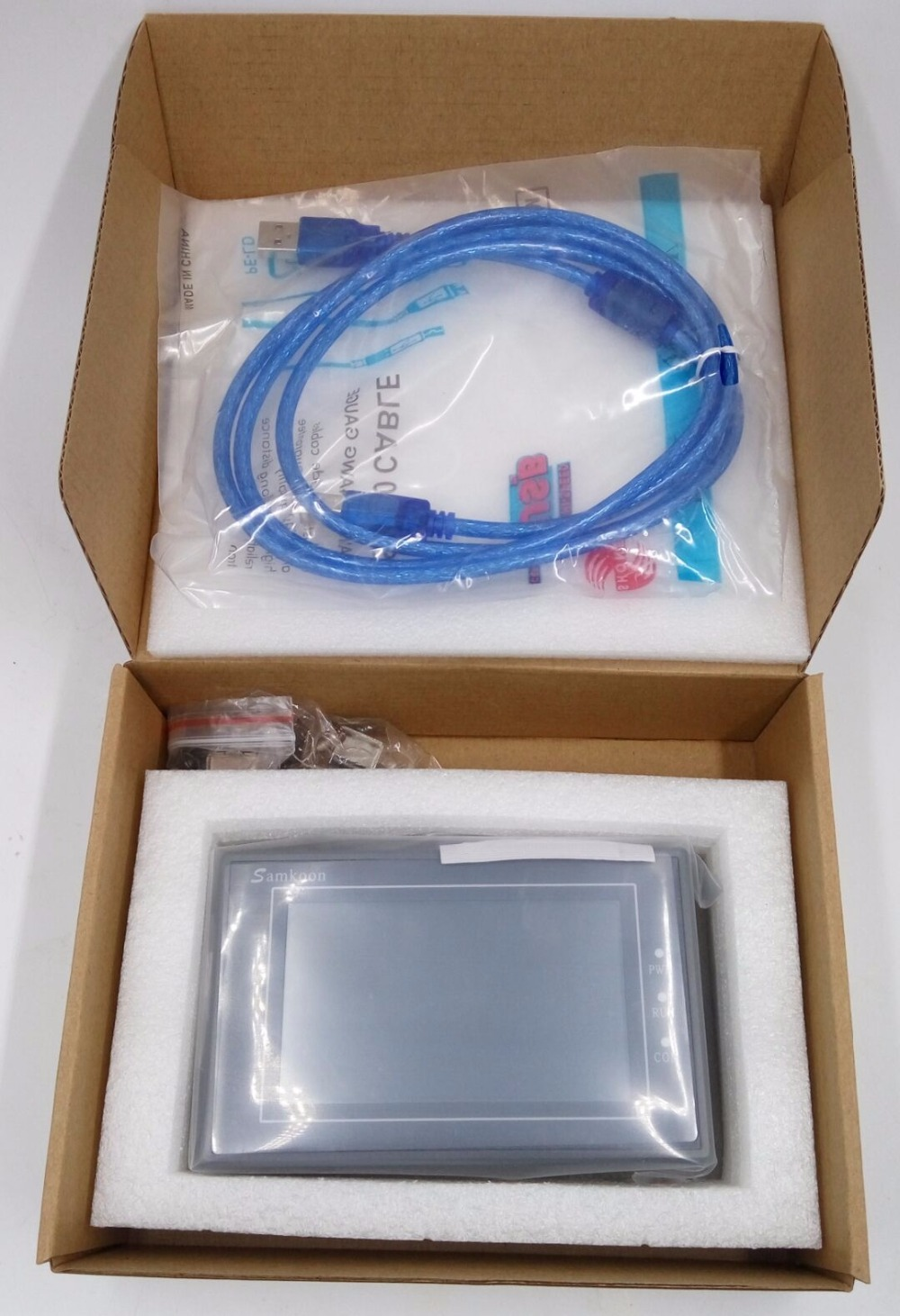 3.5 inch HMI Touch Screen Samkoon SA-035F with Programming Cable and Software samkoon sa 5 7a 5 7 inch touch screen hmi 2com new programming cable