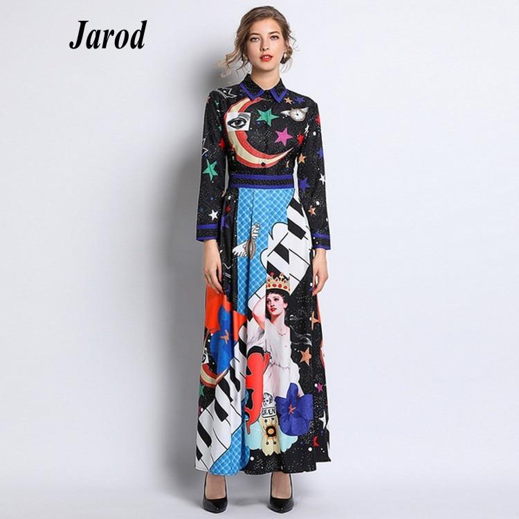 New 2019Fashion Runway Maxi Dress Women's Long Sleeve O-Neck Elegant Flower Print Vintage Long Dress