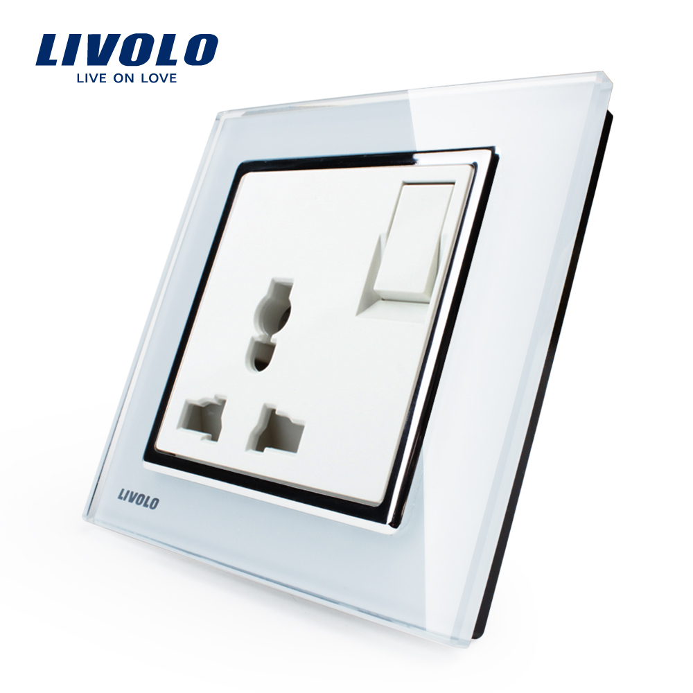 Livolo Manufacturer 1 Gang 1Way Push Button Switch 3Pins Multifunction 10A Socket White Crystal Glass Panel