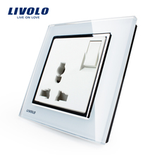 Livolo Manufacturer, 1 Gang 1Way  Push Button Switch &3Pins Multifunction 10A Socket , White Crystal Glass Panel,VL-W2Z1C-12
