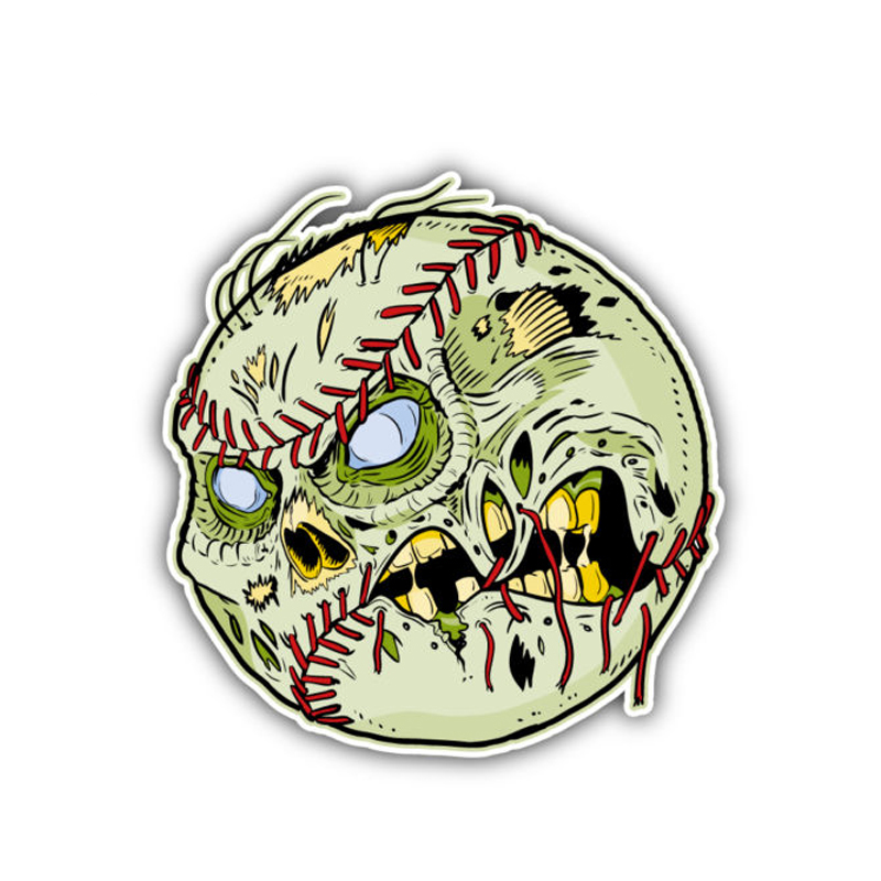 10.5cm*10.7cm Funny Zombie Baseball Ball Face Skull Car Sticker Decal Styling 6-1500 Ture 100% Guarantee